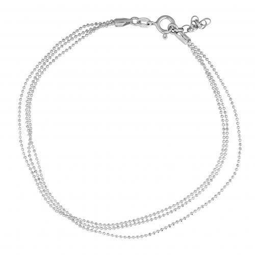 Nilkkaketju, hopeaa, 3-kertainen ketju, 0019BK-5290, Kultasydän