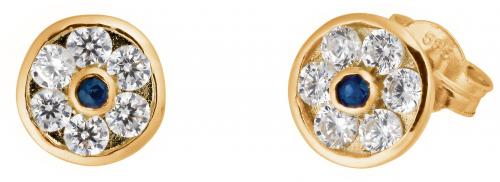 Kultaiset zirkonia-korvakorut safiireilla, 789-02-yg-saf, Kultasydän