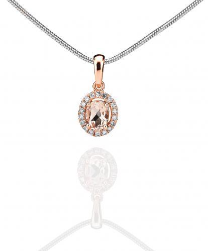 Rosekultainen morganiitti - timanttiriipus