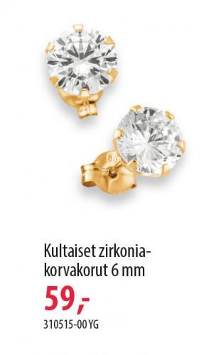 Kultaiset 6mm zirkoniakorvakorut 310515-00YG