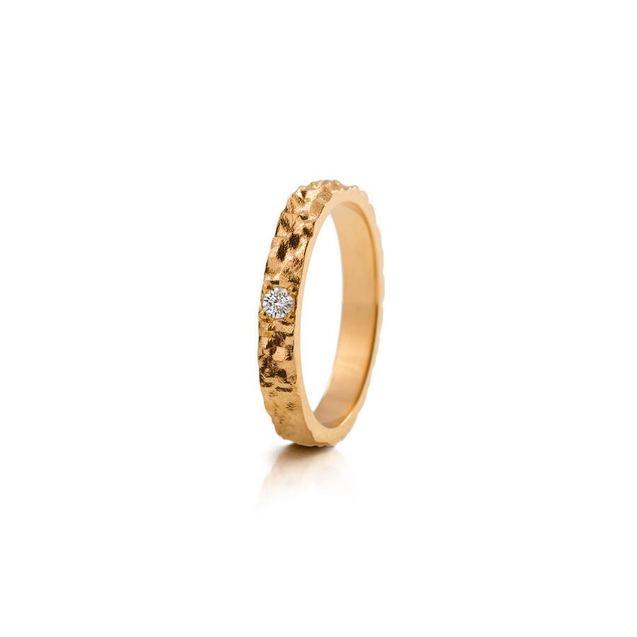 Lumoava Polku kultasormus timantilla