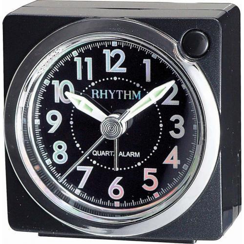 Rhythm herätyskello metallimusta/hopea