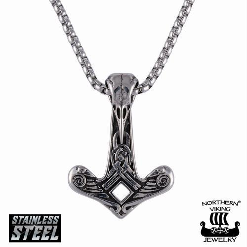 """Northern Viking Jewelry """"Raven Skull Hammer"""" teräsriipus"""