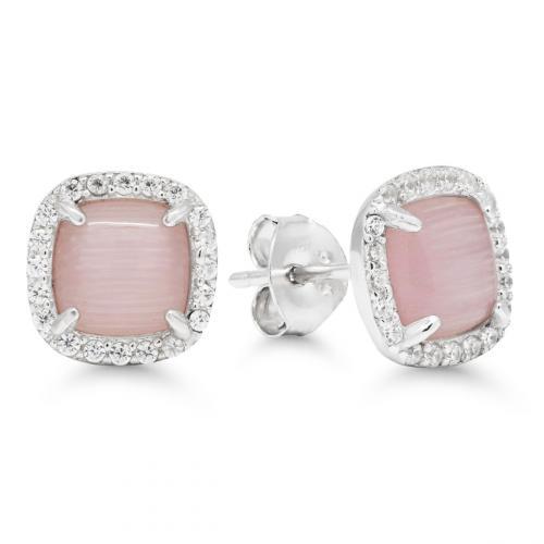 Hopeakorvakorut vaaleanpunaisella kivellä