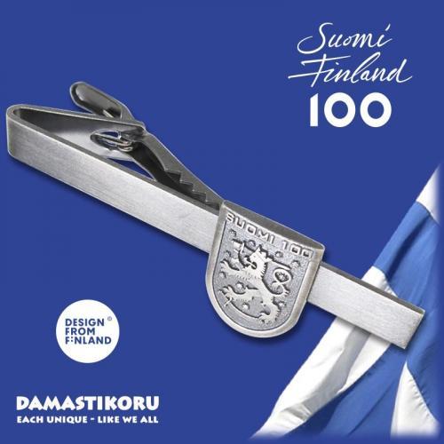 Suomi 100 leijona solmioneula, hopeaa, 71-1310-03