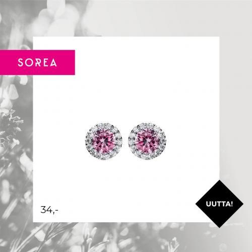 Sorea hopeakorvakorut pinkki pyöreä halo, ST543314000