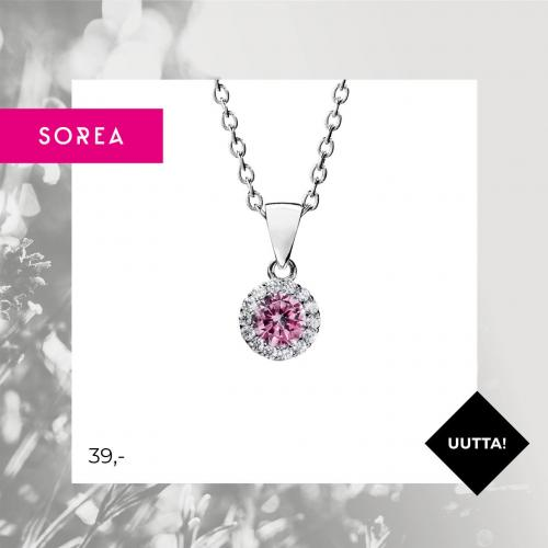 Sorea pinkki halo -hopeakaulakoru, ST563314000