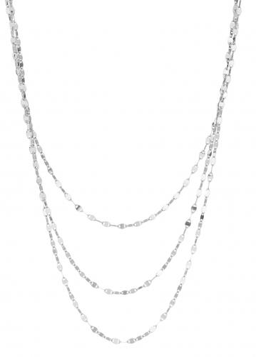 Hopeinen 3-kerroksinen kaulakoru 40cm. 0394HK 0206