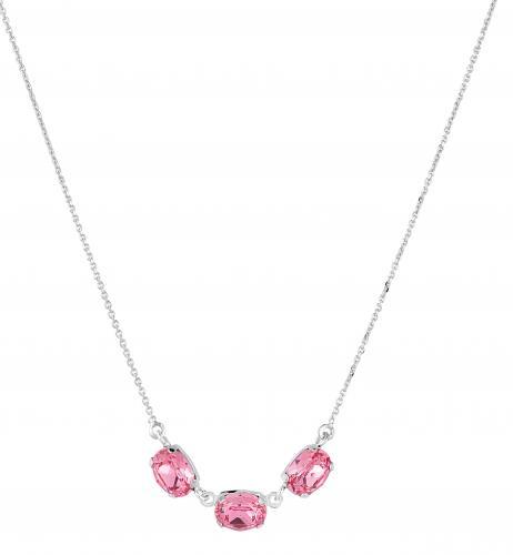 Hopeinen kaulakoru 3:lla pinkillä kivellä. 2120HK 0551 PINK
