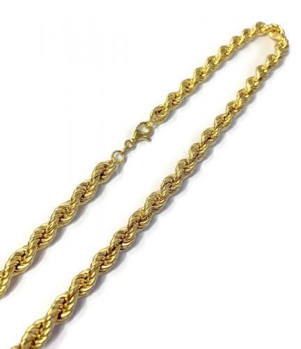 Keltakultainen näyttävä kordelliketju, pituus 45cm.