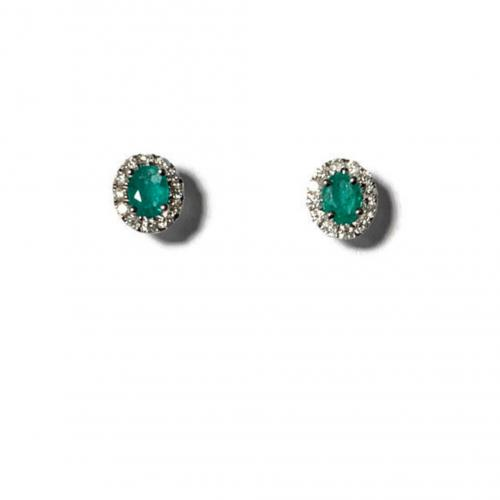 Smaragdi/timantti valkokultakorvakorut AER4801