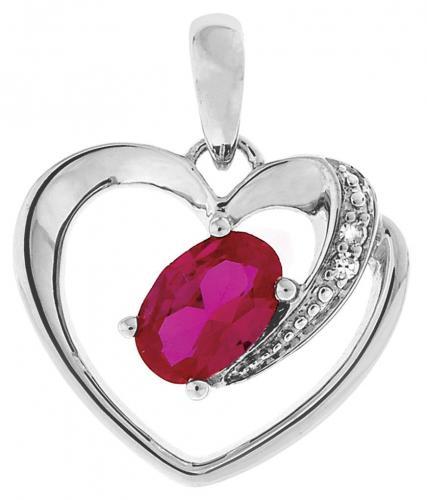Valkokultainen sydänriipus pinkillä safiirilla PTK6329-W4CUPI