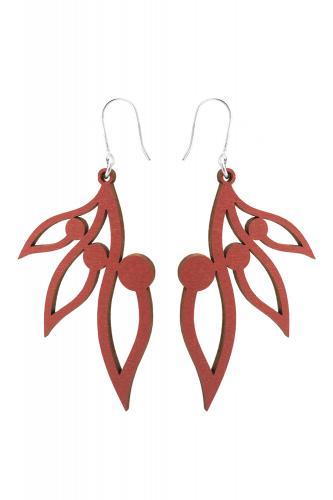 Lumoava Pihla -puukorvakorut punainen LV5201500040