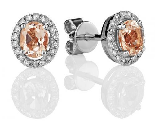 Kohinoor valkokultakorvakorut morganiitti + timantit