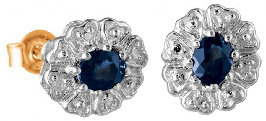 Diana sinisafiiri timanttikorvakorut, valko/keltakulta