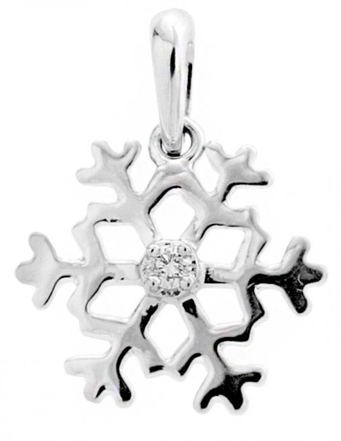 Lumihiutale -valkokultariipus, timantti 0,02 ct