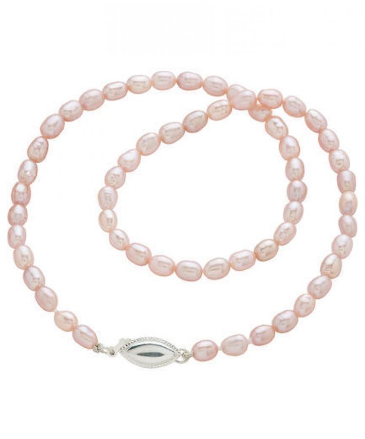 Kastehelminauha, roosa helmi, ovaali hopealukko, Pirami Pearls