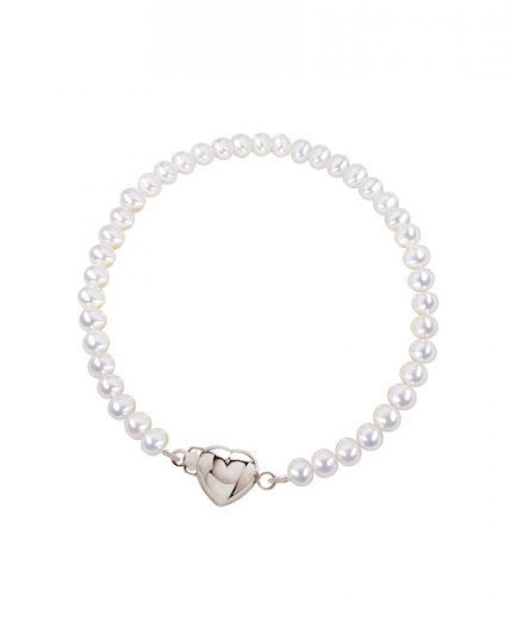 Kasterannekoru valkoinen helmi, hopeinen sydänlukko, Pirami Pearls