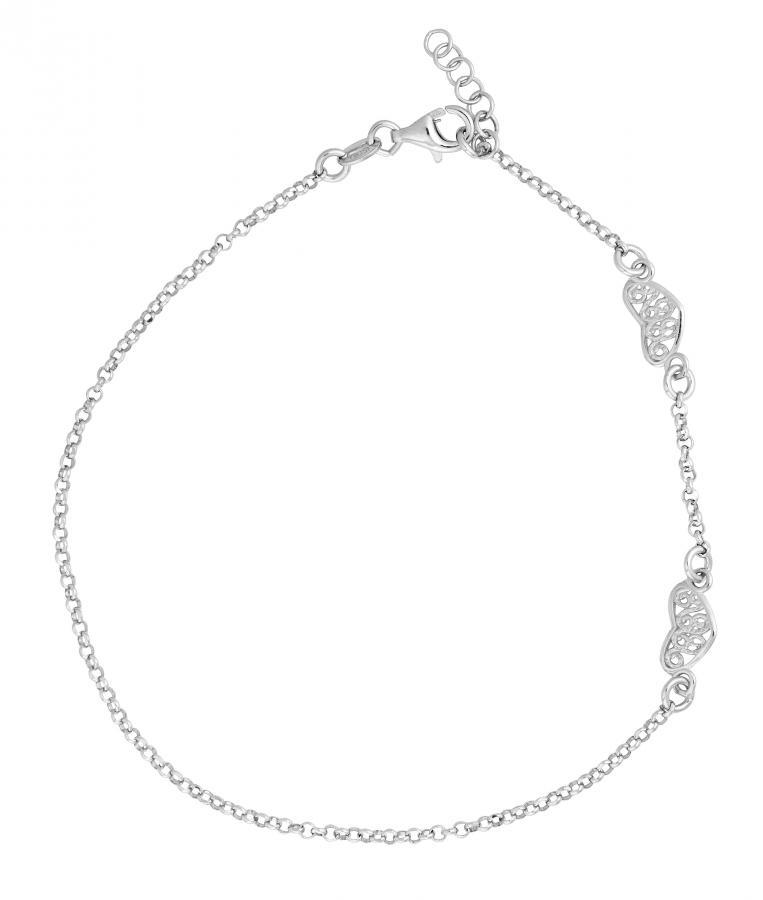 Nilkkaketju filigraanisydän, hopeaa, 0331bk4662, Kultasydän