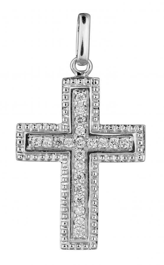Valkokultainen timanttiristiriipus 0,09 ct, 15 mm, 34927D