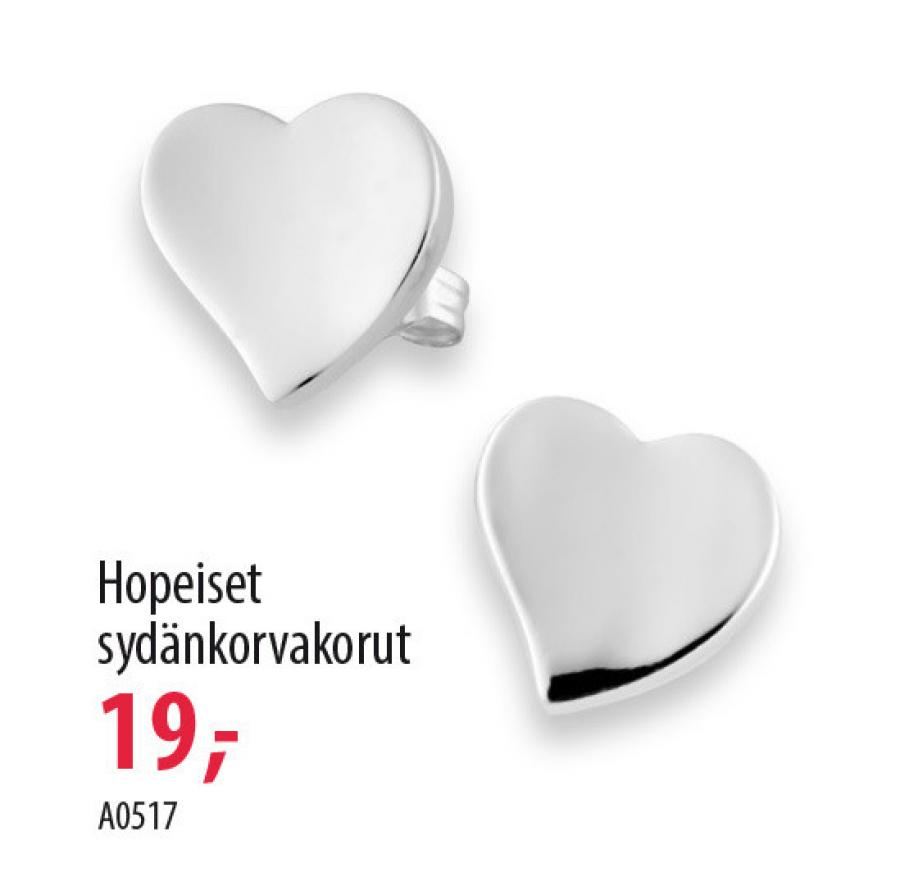 Hopeiset sydänkorvakorut A0517